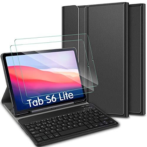 ELTD Español diseño Teclado Funda [con la tecla (ñ)] + película templada[2 Paquetes] para Samgsung Galaxy Tab s6 Lite 10.4, Funda con Desmontable Wireless Teclado para Samgsung Galaxy Tab s6 Lite