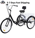 US Fast Shipment Adult Tricycles Seven Speed, Multiple Speeds, 24-inch 3-Wheels, Cargo Basket, Three-Wheeled Bicycles Cruise Trike with Shopping Basket for Seniors, Women, Men (Black)