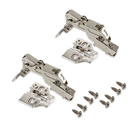 Emuca 1015107 Pack de 2 bisagras de cazoleta Ø35mm 165° cierre suave para puerta arremetida y suplementos para atornillar con regulación excéntrica