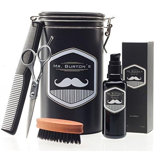 Mr. Burton´s Bartpflege Set aus Deutschland -inklusive Bartöl, Bartbürste, Bartschere und Kamm - als Geschenk, oder Geburtstagsgeschenk für Männer und Bartträger (FRESH)