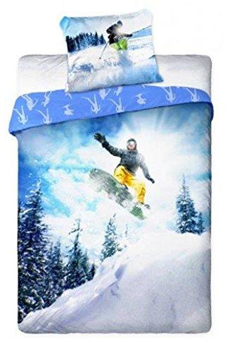 Snowboard Ski - Sport-Glisse - beddengoed - dekbedovertrek 140 x 200 cm - katoen