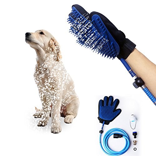 ERSEN 2018 Newest Pet Dog Bathing Tool,Pet Washing Glove with 3 in 1 Pet Shower Kit,Dog Shower Sprayer,Adjustable Bath Glove,Clean,Dogs Accessories Supplies,Shower Attachment for Indoor & Outdoor Use