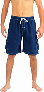Mens Swim Trunks - Watershort Swimsuit - Cargo Pockets - Drawstring Waist