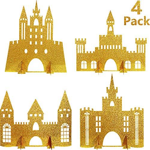Gejoy 4 Stück Gold Schloss Tisch Dekoration Glitzer Prinzessin Thema Schloss Herzstück für Geburtstag Baby Dusche Prinzessin Party Tisch Dekoration