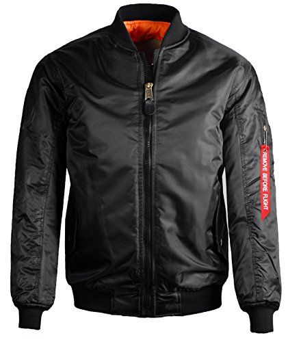 Guytalk Men's Reversible Flight Bomber Jacket XXXL Black