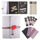 Foonii Álbum de fotos para personalizar, estilo vintage, fieltro, color negro, 25 x 20 cm, 30 anillas, con 10 plumas para cumpleaños, día de San Valentín, aniversario, regalo para mujeres
