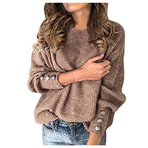 SEEGOU Elegante jersey de punto para mujer, grande, de manga larga, monocolor, informal, de punto grueso caqui XL