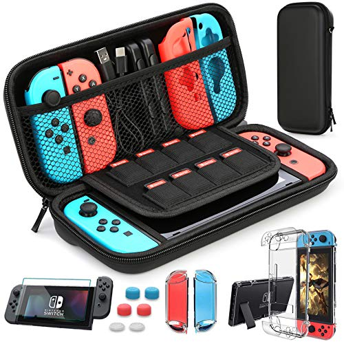HEYSTOP Étui Compatible avec Nintendo Switch, Protection pour Switch Housse pour Nintendo Switch Coque Transparente Protection écran Compatible pour Switch avec 6 Thumb Grip