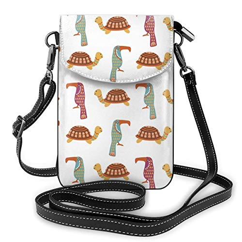 Lawenp Monedero de cuero para teléfono, bolso bandolera pequeño de tortuga animal africana Mini bolso de hombro para teléfono celular para mujer