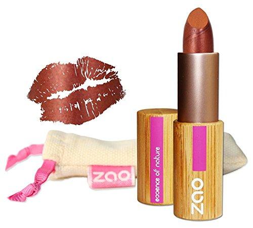 ZAO Pearly Lipstick 407 kupfer orange-rot, schimmernder Lippenstift, in nachfüllbarer Bambus-Dose...