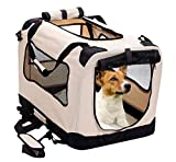 2PET Foldable Dog Crate - Soft, Easy to Fold & Carry Dog Crate for Indoor & Outdoor Use - Comfy Dog Home & Dog Travel Crate - Strong Steel Frame, Washable Fabric Cover, Frontal Zipper Medium Red