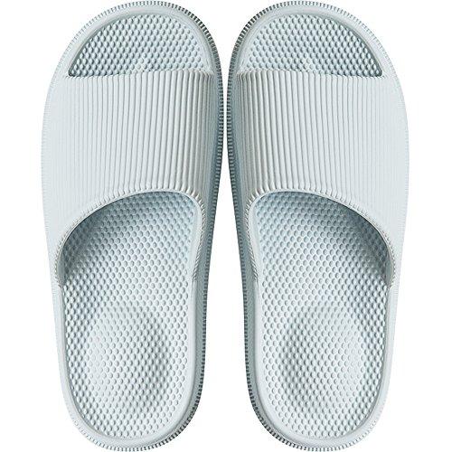 Damen Badelatschen Schlappen Sandalen Dusch Badeschuhe Hausschuhe Slides Flip Flops Sommer mit Massage Punkt Slippers Indoor rutschfest,Himmel Blau,34/35 EU