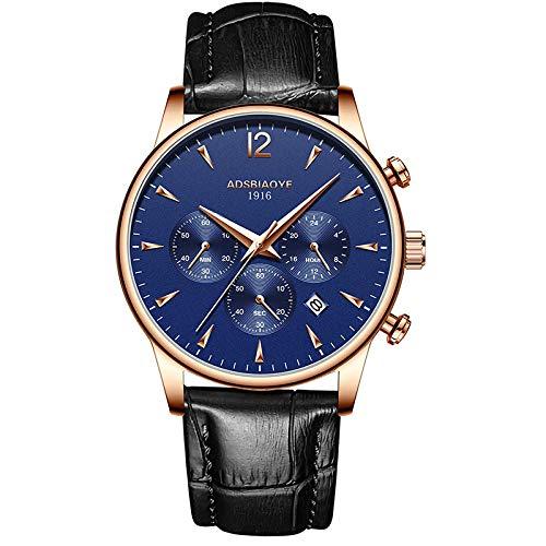 Relojes de Pulsera de Cuarzo analógicos con Fecha Impermeable de Cuero para Hombres-C