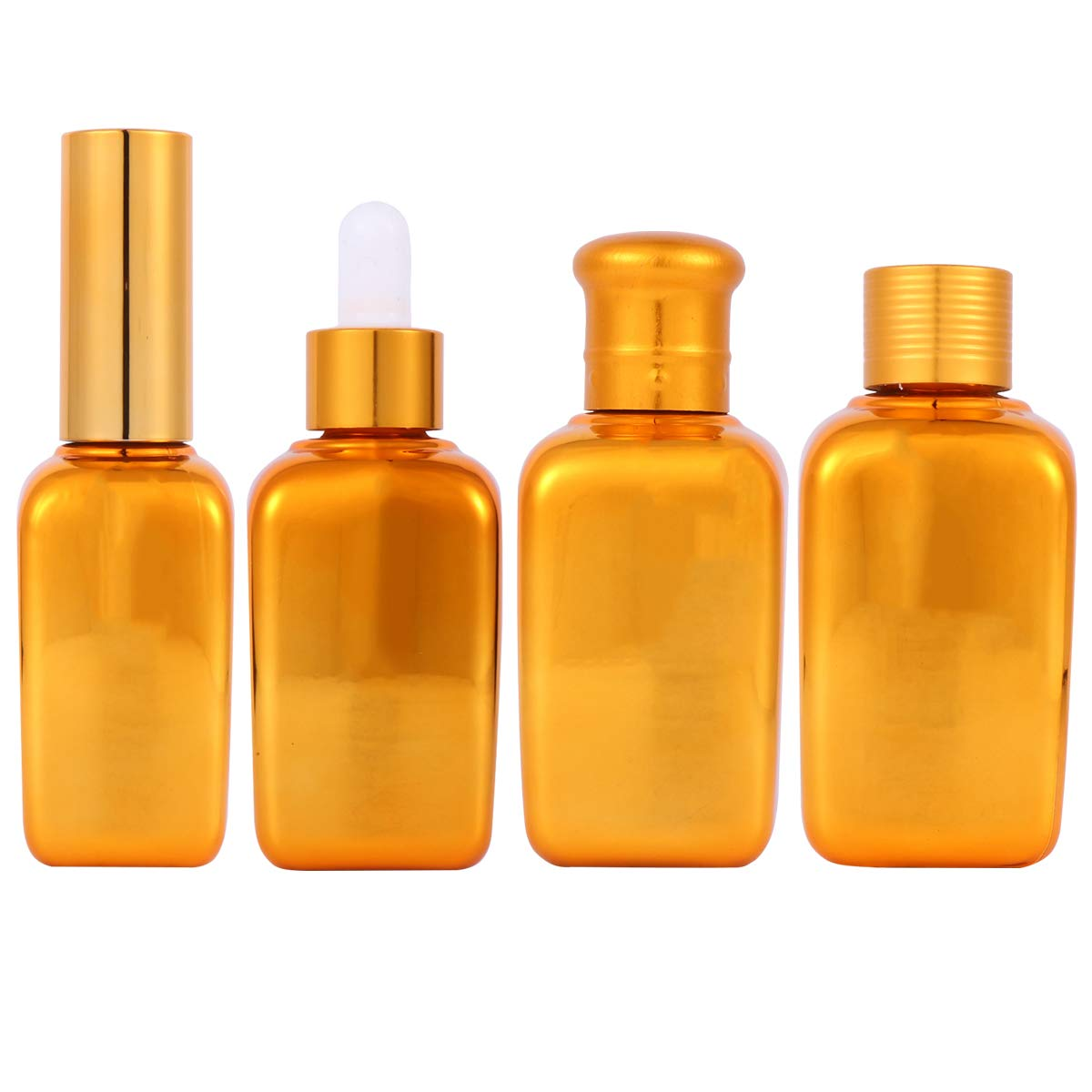 LEDMOMO All stores are sold 4pcs Golden Electroplated Glass Bot Las Vegas Mall Bottles Empty Lotion