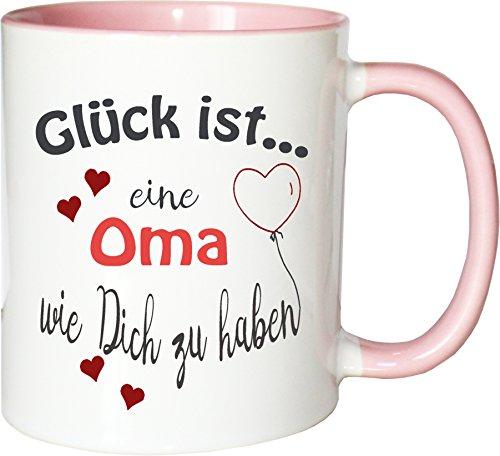 WarmherzIch Becher Tasse Glück ist… Oma Kaffee Kaffeetasse liebevoll Bedruckt Omi Großmutter Muttertag Weiß-Rosa
