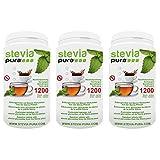steviapura | Stevia Tabs - Nachfüllpackung - 3 x 1200 Stück (3600 Stück), Zuckerersatz in der günstigen Nachfüllpackung + GRATIS Dosierspender