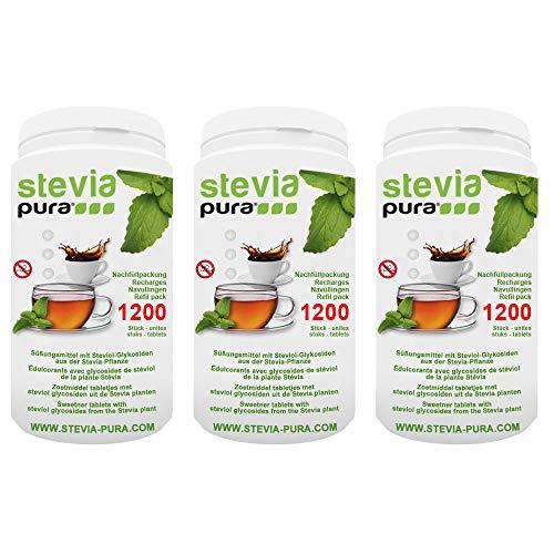 steviapura   Stevia Tabs - Nachfüllpackung - 3 x 1200 Stück (3600 Stück), Zuckerersatz in der günstigen Nachfüllpackung + GRATIS Dosierspender
