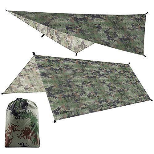 MOOHOP Portable Lightweight Waterproof Camping Tent Tarp Shelter,Windproof Snowproof Camping Shelter Hammock Awning Sun Shade Rain Fly Cover,With Carry Bag,100X145Cm