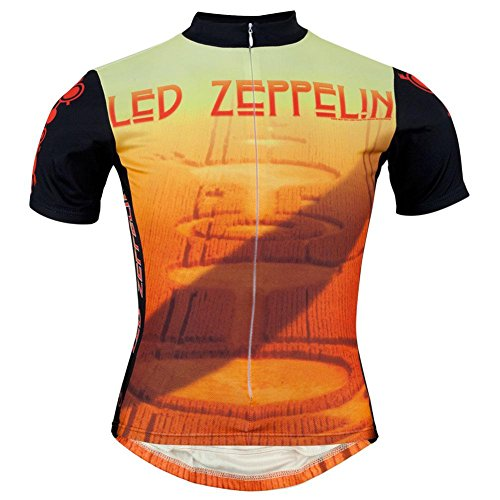 Old Glory Led Zeppelin - Mens Crop Circles Cycling Jersey Small Orange