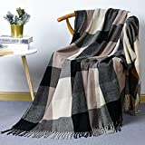 David's Home Buffalo Plaid Throw Blanket-Buffalo Check Blanket with Decorative Tassels for Couch Sofa Office-Outdoor Fringe Lap Throw-50x60 Inches-Black