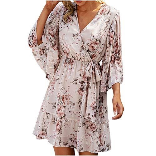 Damen Kleid Lang V-Ausschnitt Taillenkleid Mittellanger Sommerkleid Bedrucktes Knielanger Rock Loose Elegant Freizeitkleider Strandkleid Knielang Beach Kleid