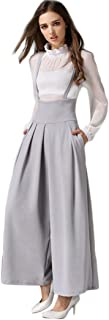 Women Casual Pleated High Waisted Wide Leg Palazzo Pants Suspenders Trousers
