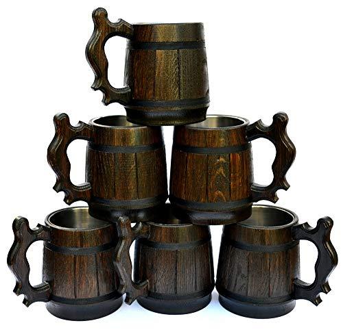 Handgefertigt aus Holz Bier Becher Natürliche Edelstahl Cup Herren Geschenk umweltfreundlichen Souvenir Retro Braun