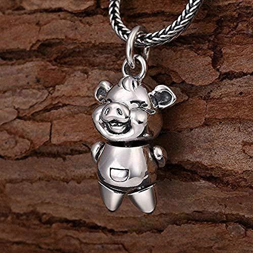 NC188 Collar Hombre Collar 990 Plata Joyas Populares Simple Little Lucky Sweetheart In Piglet Hombres y Mujeres Colgante