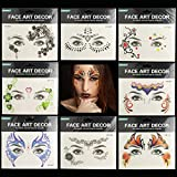 Christmas Flower Pattern Butterfly Face Sticker, Face Temporary Tattoos Sticker Waterproof Sweat Proof for Adult Kids Masquerade Party