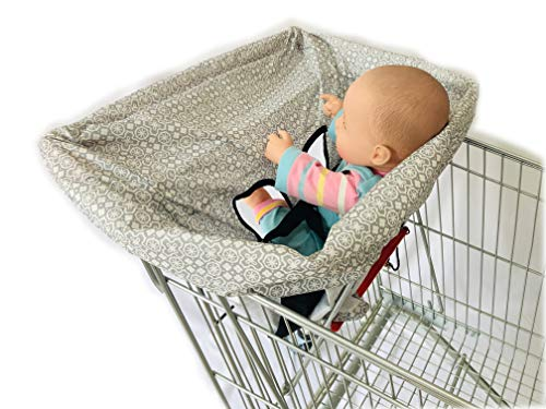 Best Price Standard Size 2-in-1 Shopping Cart Cover with Safty Harness | High Chair Cover for Baby (...