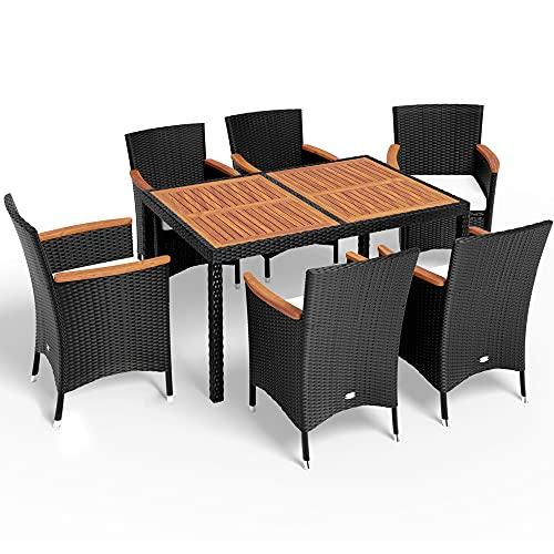 Deuba Poly Rattan Sitzgruppe 6 Stapelbare Stühle 7cm Auflagen Gartentisch 150x90 cm Akazie Holz Gartenmöbel Set Schwarz