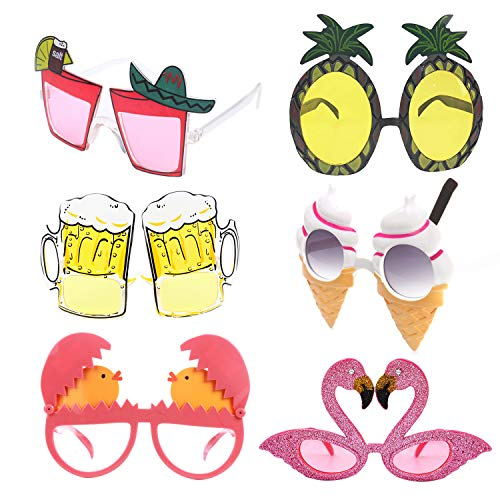 alesTOY Novelty Party Sunglasses, 6 Pairs Creative Funny Glasses, Luau Tropical Party, Fancy Dress Party Supply, Perfect Hawaiian Themed Eyeglasses for Kids & Adults