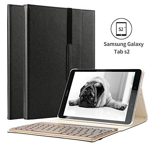Samsung Galaxy Tab s2 9.7 funda, KVAGO 7 colores de luz de fondo desmontable caja del teclado Bluetooth Funda protectora PU plegable para Samsung Galaxy Tab S2 9.7 '' tableta SM-T815 T810 de negro