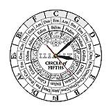 tyjsb Circle of Fifths Stave Músico Compositor Regalo Enseñanza de música Reloj de Cuarzo Colgante Moderno Teoría de la armonía Reloj de Pared de Estudio musical-30X30cm