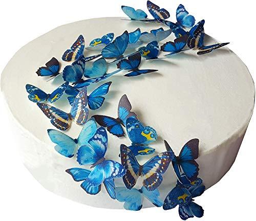 48 x Vorgeschnittene schöne blaue Schmetterlinge essbares Reispapier/Oblatenpapier Kuchendekoration, Dekoration für Cupcake Kuchen Dessert, für Geburtstag Party Hochzeit Babyparty (S)