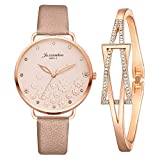 Gofodn 2pc/Sets Star Gifts for Women Quartz Analog Wrist Small Watch Fashion Luxury Casual Bracelet Watches