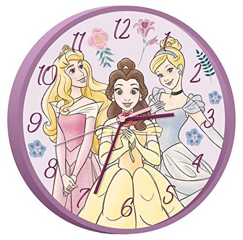 Kids Licensing   Disney Prinzessinnen Wanduhr   Kinderuhr   Analog   Einfach zu lesen   Stunden Lernen   25 cm Durchmesser   Einfache Installation   AA-Batterien   Offizielle Lizenz