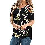 Camiseta de Verano para Mujer con Estampado De Posicionamiento De Manga Corta con Hombros Descubiertos Cuello Redondo Camiseta Camiseta De Manga Corta Suelta