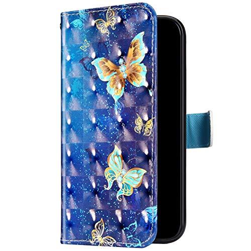 Uposao Kompatibel mit Samsung Galaxy S7 Handyhülle Bunt Bling Glitzer Glänzend 3D Muster Tasche Schutzhülle Brieftasche Leder Hülle Klapphülle Flip Case Kartenfächer Magnet,Schmetterling