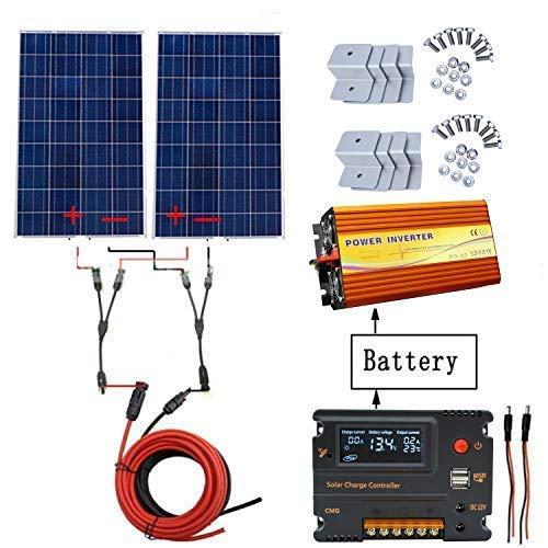 ECO-WORTHY Kit panneau solaire hors réseau 240W: Inverseur pur sinusoïde 1000W 220V + Panneau solaire polycristallin PCS 120W + Contrôleur de chargeur de batterie 20A pour camping-car à la maison