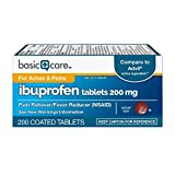 Basic Care Ibuprofen Tablets 200 mg, Pain Reliever/Fever Reducer (NSAID), 200 Count