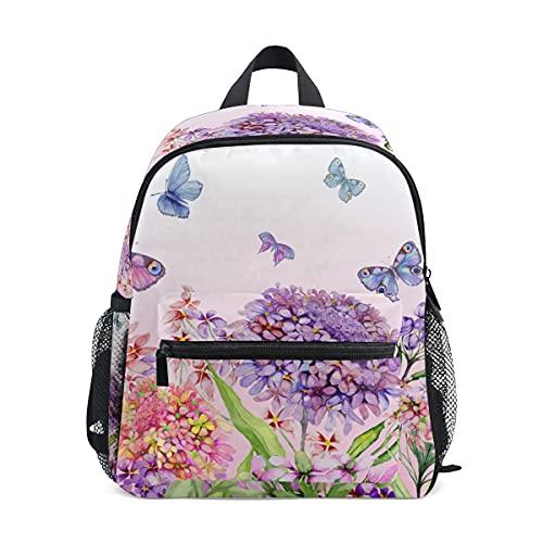 Mini mochila escolar 1 bolsa de colegio para niños niñas hortensias flores y mariposas coloridas