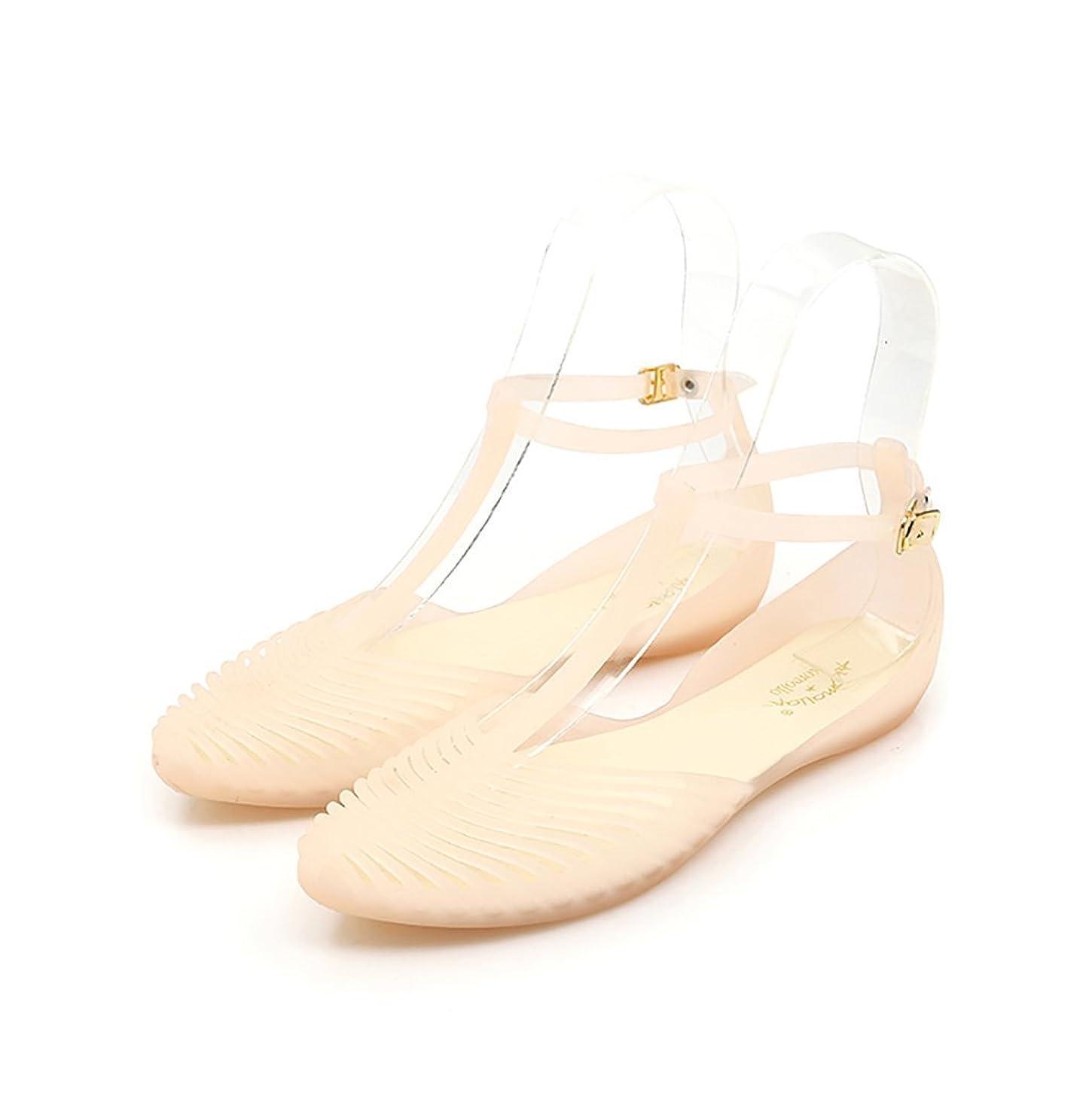 日曜日魅了する扱うレディースアンチスキッドゼリーフラットフラットシューズレディースカジュアル防水レインブーツ水の靴
