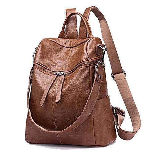 JNML Damesmode dames leren rugzakken casual schooltassen Laptoptas Multifunctionele rugzak, bruin