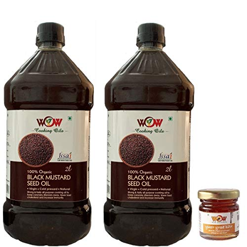WOW Cooking Oils Certified Organic Cold Pressed Black Mustard Seed Cooking Oil (2 LTR X 2) +1 Honey 55g)