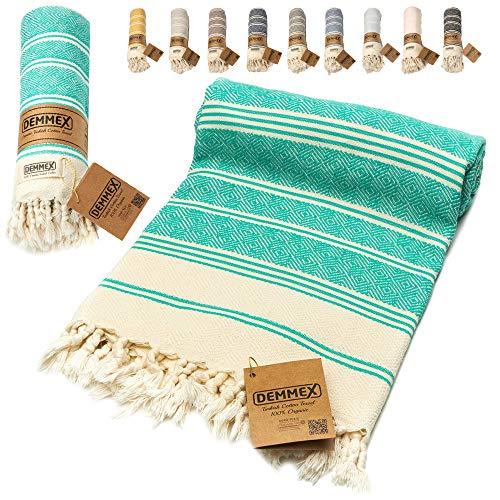 DEMMEX Certified 100% Organic Cotton & Organic Dye Prewashed XL Diamond Weave Turkish Cotton Towel Peshtemal Blanket for Bath,Beach,Pool,SPA,Gym, 71x36 Inches (Nile)