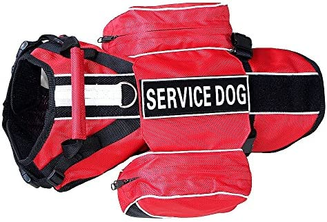 haoyueer Service Dog Backpack Harness Vest Removable Saddle Bags with Label Patches Red S product image