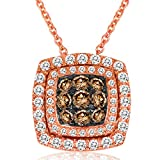 """LeVian 14K Rose Gold 1/2 Cttw White and Chocolate Diamond Domed Halo Cushion Shaped Pendant Necklace (H-I/Fancy Brown Color, VS2-SI2 Clarity)- 18"""""""