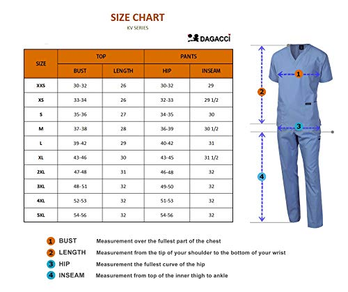 Dagacci Scrubs Medical Uniform Unisex Scrubs Set Medical Scrubs Top and Pants (XX-Large, Petwer Gray)