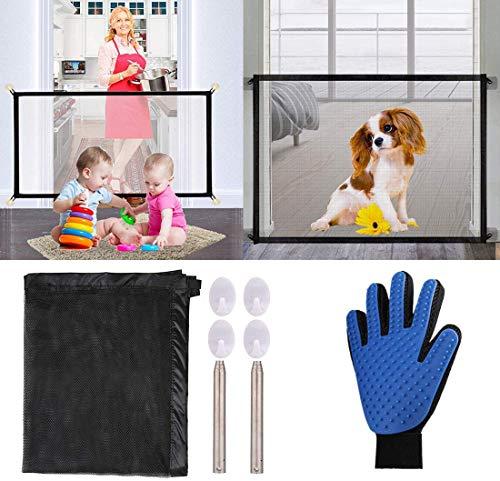 Nifogo Magic Gate Haustier Sicherheitsnetz - Geflügelnetz Trenngitter für Hunde Hundegitter Isolation Netzwerk Sicherheitsbarriere Tragbar Falten (180 * 72CM + Rechte Handschuh)